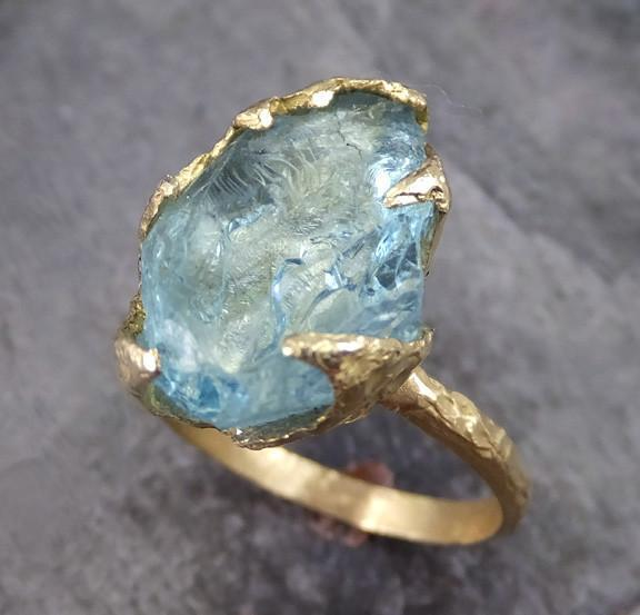Raw Uncut Aquamarine Ring Solid 18K Gold Birthstone wedding engagement Rough Gemstone Ring Statement Ring Stacking Ring - Gemstone ring by Angeline