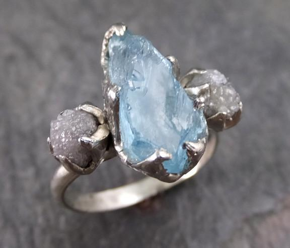 Aquamarine Diamond White Gold Engagement Ring Wedding Raw Uncut Custom One Of a Kind Gemstone Ring Bespoke Three stone - Gemstone ring by Angeline