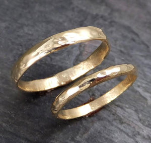 Custom pair Men's and Women's Wedding bands set 18k / 14k gold textured wedding rings Recycled gold c10000