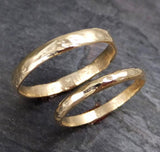 Custom pair Men's and Women's Wedding bands set 14k  gold textured wedding rings Recycled gold - Gemstone ring by Angeline