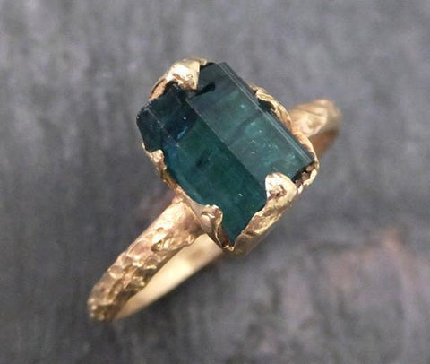 Raw Blue Tourmaline Indicolite Gold Ring Rough Uncut Gemstone tourmaline recycled 14k stacking cocktail statement - Gemstone ring by Angeline