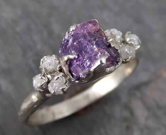 Raw Sapphire Diamond 14k White Gold Engagement Ring Wedding Ring Custom One Of a Kind Pink Purple Gemstone Ring Multi stone - Gemstone ring by Angeline