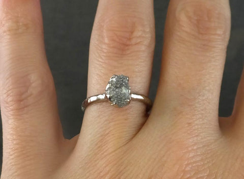 Raw Rough UnCut Diamond Engagement Ring Rough Diamond Solitaire 14k white gold Conflict Free Diamond Wedding Promise Ring - Gemstone ring by Angeline