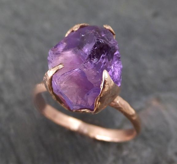 Amethyst Rose Gold Ring Purple Gemstone Recycled 14k rose Gold Gemstone Cocktail Statement ring 0107 - Gemstone ring by Angeline