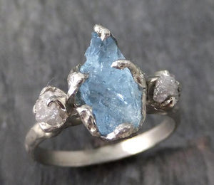 Aquamarine Diamond White Gold Engagement Ring Wedding Raw Uncut Custom One Of a Kind Gemstone Ring Bespoke Three stone Ring