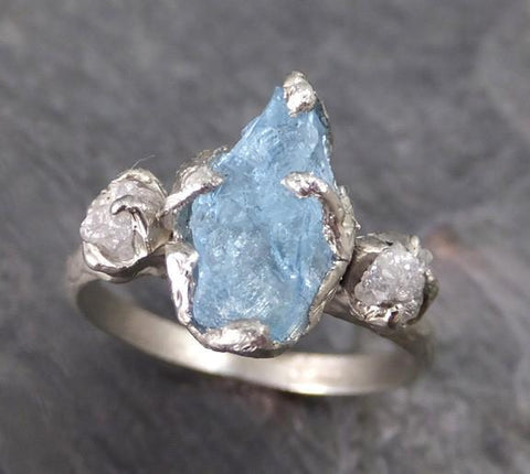 Aquamarine Diamond White Gold Engagement Ring Wedding Raw Uncut Custom One Of a Kind Gemstone Ring Bespoke Three stone Ring - Gemstone ring by Angeline