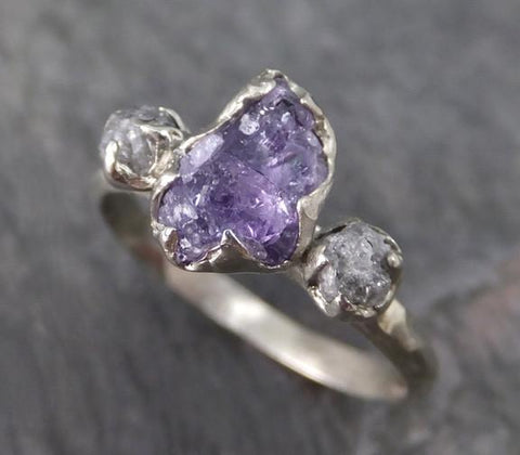 Raw Sapphire Diamond White Gold Engagement Ring Wedding Ring One Of a Kind Violet Purple Gemstone Lavender Three stone Ring - Gemstone ring by Angeline