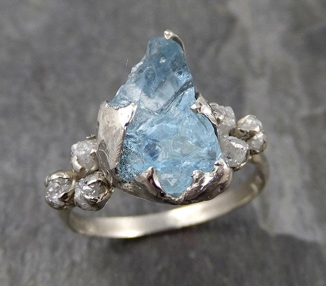 Raw Uncut Aquamarine Diamond white 14k Gold Engagement Ring Wedding Ring Custom One Of a Kind Gemstone Ring Multi stone Ring 0845 - Gemstone ring by Angeline