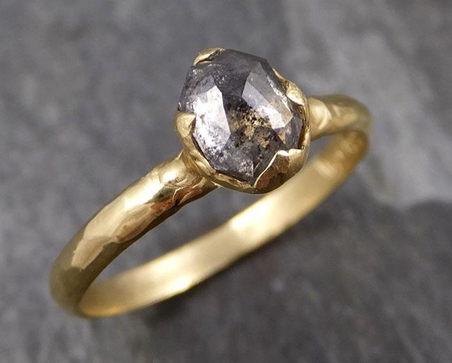 Fancy cut salt and pepper Diamond Solitaire Engagement 18k yellow Gold Wedding Ring Diamond Ring byAngeline 0848 - Gemstone ring by Angeline
