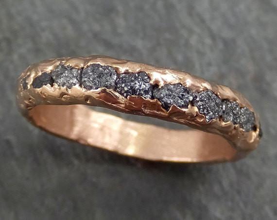 Custom Raw Rough Diamond Men's Wedding Band Multi stone 14k Rose Gold Grey conflict free diamonds Recycled Rosegold byAngeline C0340 - Gemstone ring by Angeline
