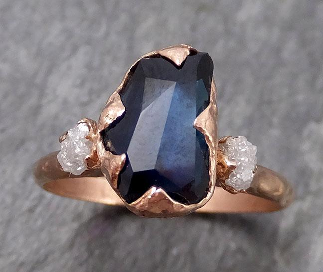 Partially Faceted Sapphire Raw Multi stone Rough Diamond 14k Gold Engagement Ring Wedding Ring Custom One Of a Kind Gemstone Ring Three stone 0851 - Gemstone ring by Angeline