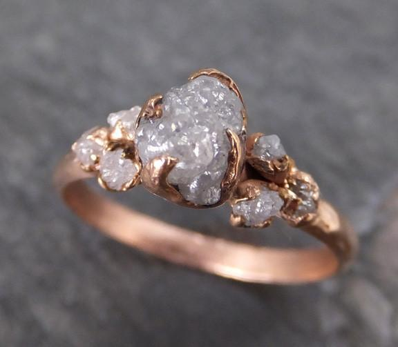 Raw Diamond Rose gold Engagement Ring Rough Gold Multi stone Wedding Ring diamond Wedding Ring Rough Diamond Ring byAngeline C0114 - Gemstone ring by Angeline