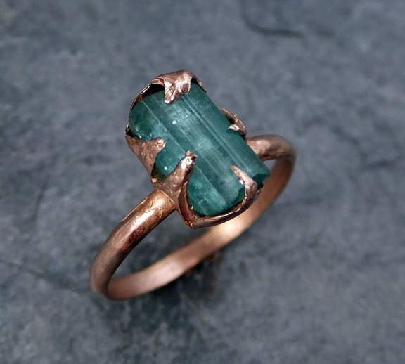Raw Green Tourmaline Rose Gold Ring Rough Uncut Gemstone tourmaline recycled stacking cocktail statement byAngeline - Gemstone ring by Angeline