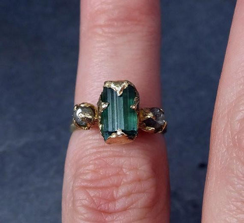 Raw green Tourmaline Diamond Gold Engagement Ring Wedding Ring Custom One Of a Kind Gemstone Ring Bespoke Three stone Ring by Angeline - Gemstone ring by Angeline