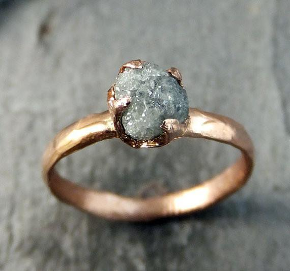 Raw Diamond Solitaire Engagement Ring Rough 14k rose Gold Wedding Ring diamond Stacking Ring Rough Diamond Ring by Angeline - Gemstone ring by Angeline