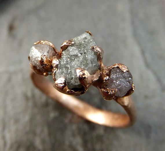Raw Pink Diamond Rose Gold Engagement Ring Wedding Ring Custom One Of a Kind Gemstone Ring Rough Diamond Ring by Angeline - Gemstone ring by Angeline
