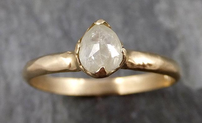 Faceted Fancy cut White Diamond Engagement 14k Yellow Gold Solitaire Wedding Ring byAngeline 0856 - Gemstone ring by Angeline