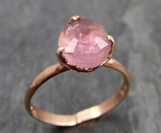 Partially faceted Pink Tourmaline Rose Gold Ring Gemstone Solitaire recycled 14k statement cocktail statement 0857 - Gemstone ring by Angeline