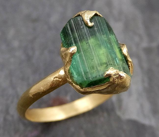 Raw Green Tourmaline yellow Gold Ring Rough Uncut Gemstone solitaire tourmaline recycled 14k cocktail statement byAngeline 0860 - Gemstone ring by Angeline