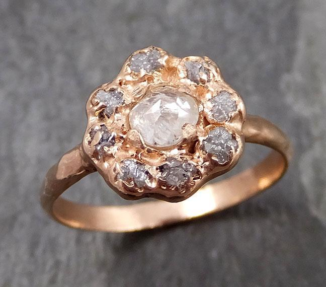 Fancy cut and Raw Rough Diamond Halo Engagement 14k Gold Wedding Ring diamond Wedding Set Stacking Ring Rough Diamond Ring by Angeline 0861 - Gemstone ring by Angeline