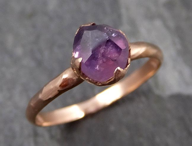Partially Faceted Sapphire 14k rose Gold Engagement Ring Wedding Ring Custom One Of a Kind Gemstone Ring Solitaire 0863 - Gemstone ring by Angeline
