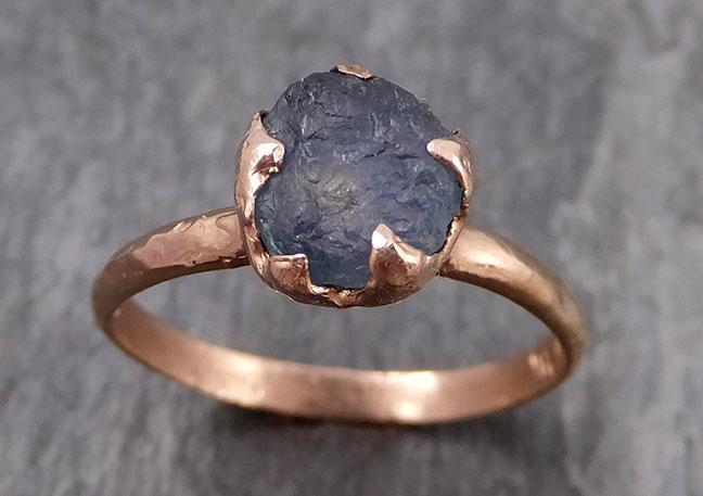 Raw Sapphire montana sapphire Rose Gold Engagement Ring Steel Blue Wedding Ring Custom Gemstone Ring Solitaire Ring byAngeline 0864 - Gemstone ring by Angeline