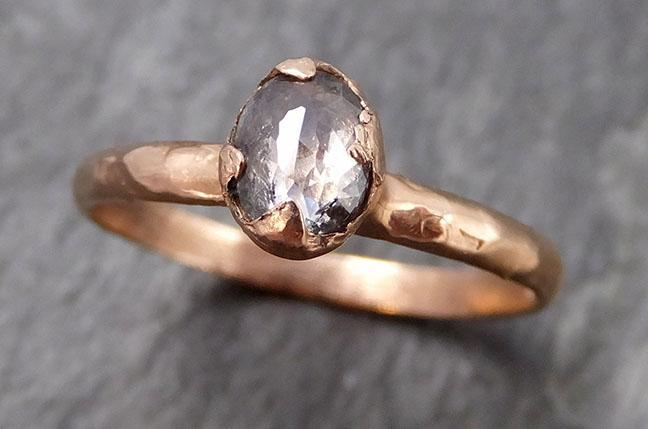 Fancy cut Salt and pepper Solitaire Diamond Engagement 14k Rose Gold Wedding Ring byAngeline 0866 - Gemstone ring by Angeline