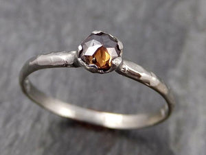 Fancy cut Cognac Diamond Solitaire Dainty Engagement 14k White Gold Wedding Ring Diamond Ring byAngeline 0868