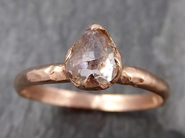 Fancy cut Champagne Diamond Solitaire Engagement 14k Rose Gold Wedding Ring byAngeline 0871 - Gemstone ring by Angeline