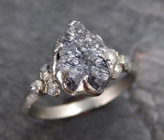 Rough Diamond Engagement Ring Raw 14k White Gold Wedding Ring Wedding Set diamond three stone Rough Diamond Ring 0117 - Gemstone ring by Angeline
