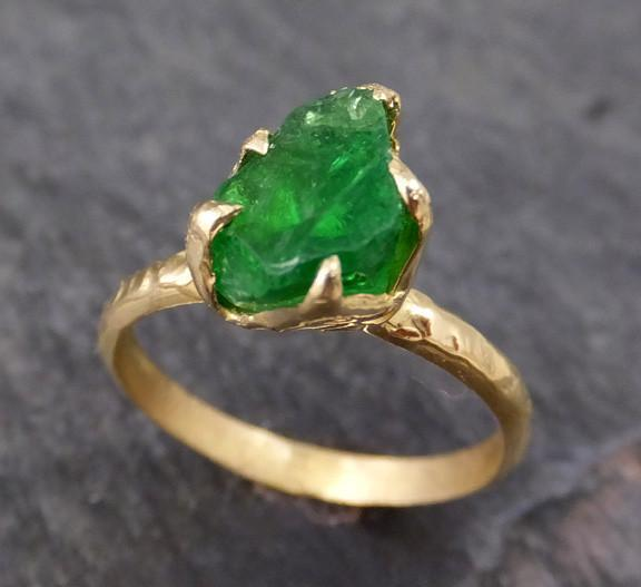 Rough Raw Natural Tsavorite Garnet Green Gemstone ring Recycled 18k Gold One of a kind Gemstone ring - Gemstone ring by Angeline