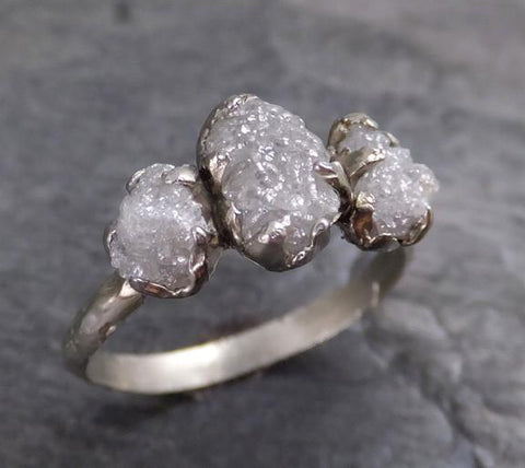 Rough Diamond Engagement Ring Raw 14k White Gold Wedding Ring diamond three stone Rough Diamond Ring 0120 - Gemstone ring by Angeline