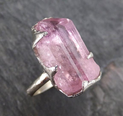 Raw Rough Pink Topaz white Gold Ring One Of a Kind Gemstone Ring Recycled gold 0122 - Gemstone ring by Angeline