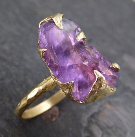 Amethyst Gold Ring Purple Gemstone Recycled 18k yellow Gold Gemstone One of a kind Birthstone Unique Cocktail Statement ring byAngeline 0124 - Gemstone ring by Angeline