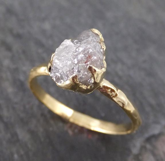 Raw Diamond Solitaire Engagement Ring 18k Rough Uncut gemstone gold Conflict Free Diamond Wedding Promise byAngeline - Gemstone ring by Angeline