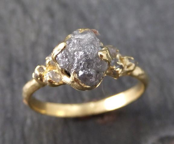 Raw Diamond 18k gold Engagement Ring Rough Gold Wedding Ring diamond Wedding Ring Rough Diamond Ring byAngeline - Gemstone ring by Angeline
