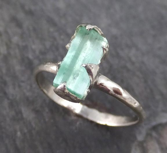 Raw Sea Green Tourmaline White Gold Ring Rough Uncut Gemstone Promise Engagement recycled 14k stacking cocktail statement byAngeline - Gemstone ring by Angeline