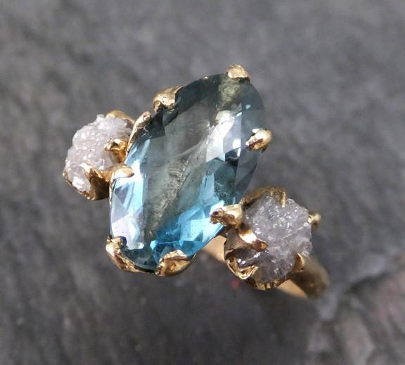 Aquamarine Raw Uncut Diamond Gold Engagement Ring Wedding Ring Custom One Of a Kind Gemstone Ring Bespoke Three stone Ring - Gemstone ring by Angeline