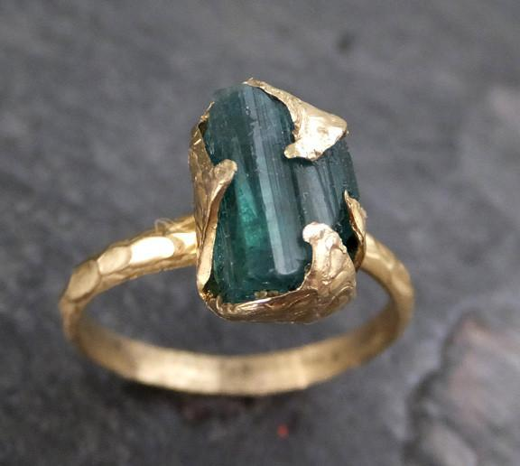 Raw Green Tourmaline Gold Ring Rough Uncut Gemstone tourmaline recycled 14k stacking cocktail statement - Gemstone ring by Angeline
