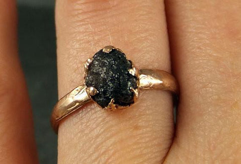 Raw Diamond Solitaire Engagement Ring Rough Uncut gemstone Rose gold Conflict Free Black Diamond Wedding Promise by Angeline - Gemstone ring by Angeline