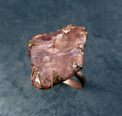 Raw Rough Morganite 14k Rose gold Ring Gold Pink Gemstone Cocktail Ring Statement Ring Raw gemstone Jewelry byAngeline - Gemstone ring by Angeline