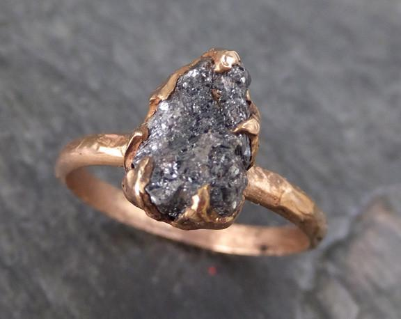 Raw Diamond Solitaire Engagement Ring Rough Uncut gemstone Rose gold Conflict Free Black Diamond Wedding Promise - Gemstone ring by Angeline