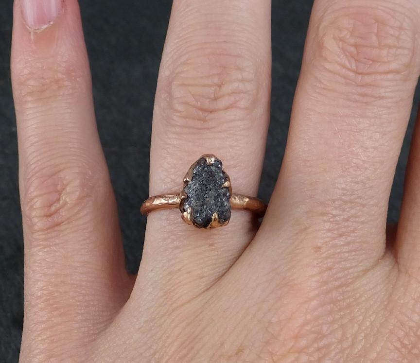 Raw Diamond Solitaire Engagement Ring Rough Uncut Gemstone Rose Gold C By Angeline