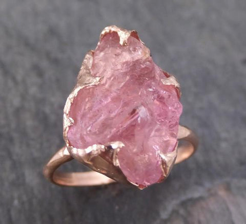 Raw Rough Pink Topaz Rose Gold Ring One Of a Kind Gemstone Ring Recycled gold - Gemstone ring by Angeline
