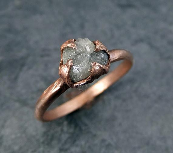 Raw Diamond Solitaire Engagement Ring Rough 14k rose Gold Wedding Ring diamond Wedding Set Stacking Ring Rough Diamond Ring by Angeline - Gemstone ring by Angeline