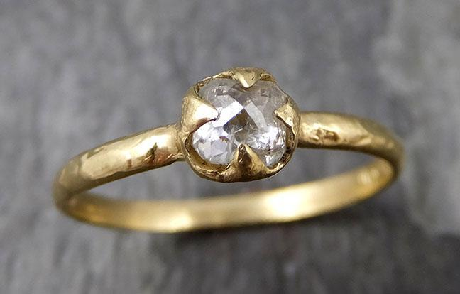 Fancy cut white Diamond Solitaire Engagement 14k yellow Gold Wedding Ring byAngeline 0876 - Gemstone ring by Angeline