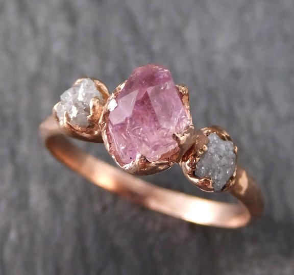 Raw Rough Pink Topaz Conflict Free Diamonds Rose Gold Ring One Of a Kind Gemstone Engagement Wedding Ring Recycled gold - Gemstone ring by Angeline