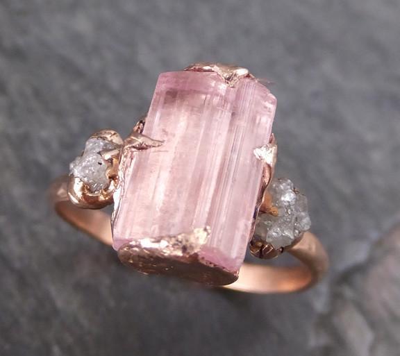 Raw Pink Tourmaline Diamond 14k Rose Gold Multi stone Engagement Ring Wedding Ring One Of a Kind Gemstone Ring Bespoke Three stone Ring - Gemstone ring by Angeline