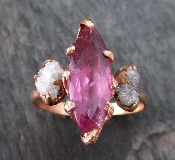 Pink Tourmaline raw rough Conflict Free Multi stone Diamond engagement Ring 14k rose gold byAngeline Bespoke Wedding Once of a kind - Gemstone ring by Angeline