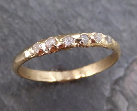 Raw Rough Uncut Diamond Wedding Band 14k Gold Wedding Ring 0150 - Gemstone ring by Angeline